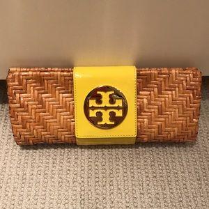 Tory Burch rattan clutch purse